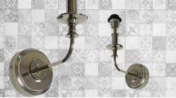 Base d'applique en métal finition chromée brillante, courbe et finesse esprit chandelier, 29cm