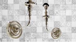 Base d'applique en métal finition chromé, 1 feu esprit ancien chandelier de maison de maitre, 30cm