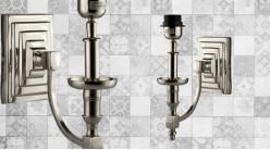 Base d'applique en métal chromé, bras en escalier et bras arrondi, ambiance moderne, 30cm