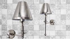 Applique murale en métal effet chromé vieilli brossé, ambiance moderne contemporaine, 45cm