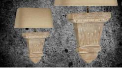 Applique console murale en bois finition naturelle, demi abat jour en coton couleur lin, ambiance rustique, 40cm