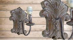 Base d'applique en bois sculpté finition brute, ambiance chalet moderne, 27cm