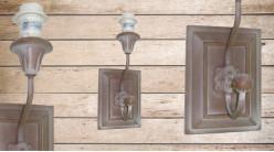 Base d'applique en bois et métal finition naturelle et brun cigare usé, avec crochet porte manteau, 35cm
