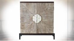 Buffet en bois de sapin finition naturelle vieillie de style oriental, 92.5cm