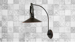 Applique murale avec bras long en métal finition noir charbon effet vieilli, ambiance rétro vintage, 52cm