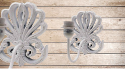 Base d'applique en bois en forme de feuille sculpté, finition blanchi usé, ambiance shabby chic, 20cm