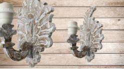 Base d'applique en bois sculpté en forme de feuille finition blanchie naturelle, ambiance chalet de haute montagne, 31cm