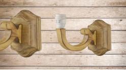 Base d'applique en bois sculpté finition brute, forme de bras, ambiance authentique chalet de montagne, 23cm