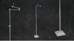 Pied de lampadaire articulé en métal, hauteur ajustable, base carrée, ambiance moderne linéaire, 142cm
