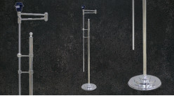 Grand pied de lampadaire en métal chromé, bras articulé et hauteur ajustable, modèle trompette, 185cm