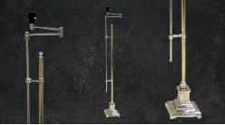 Pied de lampadaire en métal, style moderne linéaire finition chromée, hauteur ajustable et bras articulé, 132cm