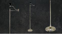 Pied de lampadaire de lecture en métal chromé, bras articulé sur base ronde, 132cm
