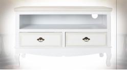 Petit meuble TV en bois finition blanche de style romantique, 100cm