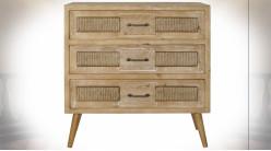 Commode à 3 tiroirs en bois et cordage finition naturelle de style ethnique, 84cm