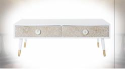 Table basse blanche en bois de sapin, motifs mandala en relief de style Indien, 120cm