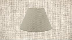 Abat-jour de Ø40cm en coton, forme conique avec motifs de rayures grises sur fond beige écru