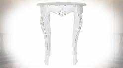 Table d'appoint en bois de manguier finition blanc vieilli, pieds galbés de style classique, 76cm