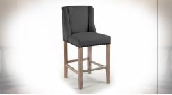 Chaise de bar de style classique en bois de caoutchouc, assise en lin gris et clous de tapissier, 104cm