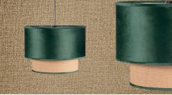 Suspension gigogne en velours vert impérial et cannage clair Ø40cm, 2 niveaux
