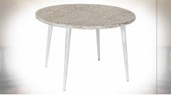 Table d'appoint en bois de manguier gravé finition naturelle blanchie de style ethnique, Ø75cm