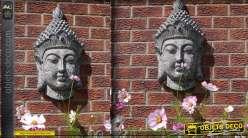 Déco murale en tête de bouddha imitation pierre ancienne