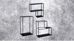 Série de 3 étagères murales en métal pour composition géométrique, ambiance moderne, 49cm