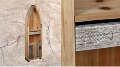 Grande étagère barque en bois finition naturelle, une porte et 3 espaces de rangement, 149cm