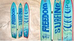 Grand paravent planches de surf, en trois parties finition dégradé de bleu, 180cm