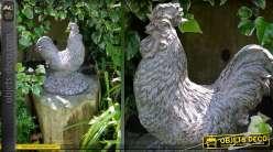 Statuette de coq imitation pierre ancienne