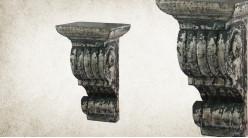 Console colonne murale en bois sculpté finition usée charbon et chrome, 24cm