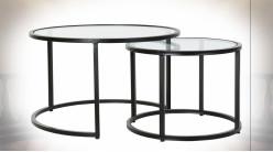 Table d'appoint gigogne en fer finition noire plateau en verre ambiance moderne, Ø75cm