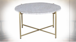 Table basse circulaire en fer finition dorée, plateau en granit blanc de style moderne, Ø81cm