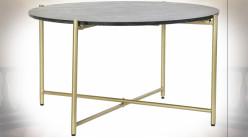 Table basse circulaire en fer finition dorée et marbre noir de style moderne, Ø81cm