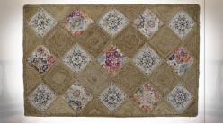 Grand tapis en jute tressé finition naturelle ambiance Boho, 230cm