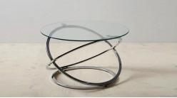 Table basse design en métal chromé et verre épais, ambiance moderne, Ø80cm