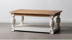 Table basse rectangulaire en bois avec pieds effet sculptés, ambiance vieille campagne, 120cm