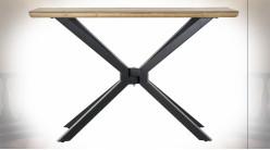 Console en bois de sapin finition naturelle et pieds en métal noir ambiance atelier moderne, 120cm