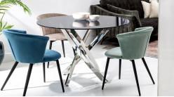 Table ronde en acier chromé et verre teinté gris, ambiance moderne design, Ø120cm