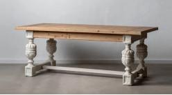 Table de salle à manger en bois de sapin avec pieds amphore, finition blanc antique et naturel, 200cm
