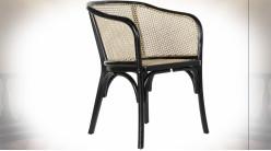 Chaise en bois d'orme et cannage de rotin finition naturelle ambiance rétro, 77cm
