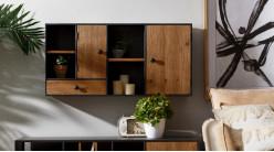 Meuble de rangement mural, en bois et métal de style moderne atelier, 100cm