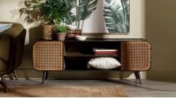 Meuble TV en bois métal et portes en cannage de rotin, ambiance rustico indus, 150cm