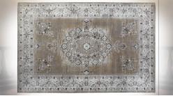 Grand tapis rectangulaire en coton et polyester finition usée ambiance orientale, 290cm