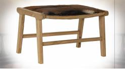 Bout de lit en bois de teck finition naturelle et cuir veritable, 65cm