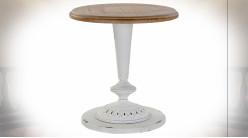 Table d'appoint en bois de sapin finition blanc vieilli et naturelle ambiance shabby chic, 54cm