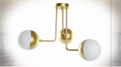 Suspension luminaire à 3 feux en métal finition dorée ambiance moderne chic, 61cm