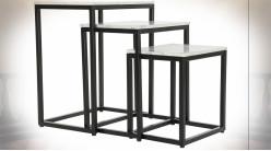 Table d'appoint gigogne en fer noir et plateaux en marbre blanc de style moderne, 60.5cm