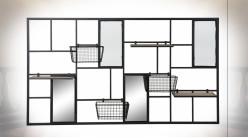 Rangement murale avec paniers et étagères amovibles en métal et bois ambiance industrielle, 130cm