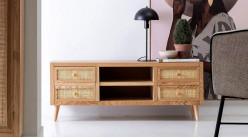 Meuble TV en bois de chêne et façades de tiroirs en rotin, ambiance rustique, 118cm