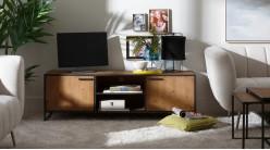 Meuble TV en bois et métal, ambiance linéaire moderne, finition brute et charbon, 150cm